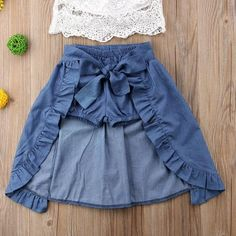 Verypoppa Baby Girls Outfit 3 Pcs Off Shoulder Lace Shirt Blouse Top Denim Shorts Skirt Set, Dresses Kids Girl, Little Girl Outfits, Toddler Girl Outfits, Baby Outfits Newborn, Kids Outfits, Baby Girl Skirts, Toddler Girls, Maxi Skirt Outfit Summer, Maxi Skirt Outfits