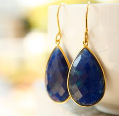 Blue Sapphire Quartz Teardrop Earrings - September Birthstone - Sapphire Blue. $69.00, via Etsy.