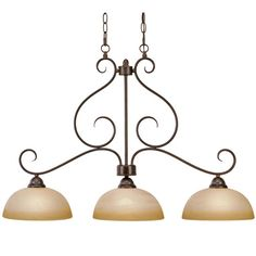 Features:  -Three light island light.  -Accommodates (3) 100W incandescent medium base bulbs (not included).  -Handcrafted linen swirl glass.  -Sleek clean lines with simplicity and rich style.  -Meta