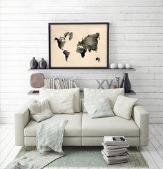 Map Wall Art, Map Art, Print Map, Art Print, Buffalo Painting, Highland Cow Print, Animal Posters, Mini Heart, International Paper Sizes