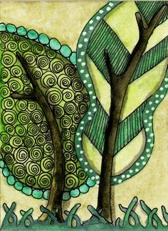 zentangle - I love this :D Doodles Zentangles, Zentangle Patterns, Zen Doodle, Doodle Art, Doodle Trees, Art Fantaisiste, Art Abstrait, Arte Pop, Whimsical Art