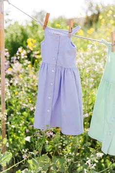 Soft timeless dress that can be worn over and over again with a button down front and circle skirt. Length from top of bodice to skirt hem Waist 9 Little Girl Summer Dresses, Little Girls, Summer Looks, Poppy, Bodice, Lavender, Spandex, Button, Skirts