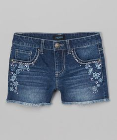 Love this Blue Floral Butterfly Denim Shorts by Squeeze on #zulily! #zulilyfinds