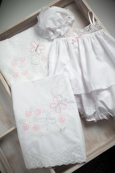 Embroidered butterfly and daisies Christening lathopana Daisies, Christening, White Shorts, Butterfly, Women, Fashion, Ribbon Flower, Ribbons, Moda
