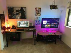 His & Hers Bedroom Battlestation Update (more in comments) Simple Computer Desk, Computer Desk Setup, Gaming Room Setup, Pc Setup, Pc Computer, Home Office Setup, Home Office Space, Gamer Bedroom, Diy Desktop