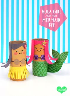 Cardboard Roll Mermaid & Hula Girl Craft! Create cute mermaid and hula girl crafts using recycled toilet paper rolls, construction paper, paint, markers, and glue!