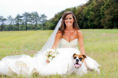 Bridal portraits with dog. #boxer