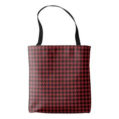 Red and Black Houndstooth Tote Bag