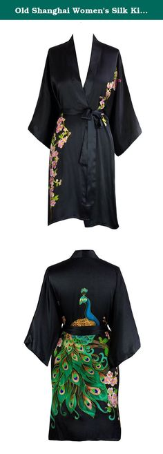 Old Shanghai Women's Silk Kimono Short Robe - Handpainted, Peacock Black. Our exclusive collection of delicately hand painted silk kimonos is inspired by well known art collections from China. Each silk kimono is created by a master artisan, taking over seven days to complete the intricate details decorating both front and back. Elegant & luxurious, our silk kimonos make every woman feel like a work of art.