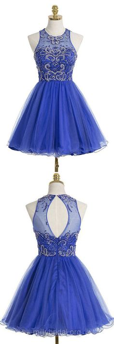 Royal Blue Prom Dresses,A-line Scoop Neck Party Gowns,Tulle Short/Mini Cocktail Dress,Beading Homecoming Dresses