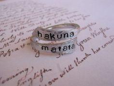 Hakuna matata ring Disney Personalized ring by giftforbestfriends, $10.00