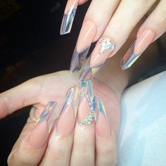 Crystal nails with hologram Mylar foil by Alison Nicole Nail Company Edge shape nail design