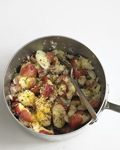 Ingredients  3 pounds small red new potatoes 1/4 cup extra-virgin olive oil 2 teaspoons finely grated lemon zest Coarse salt and ground pepper