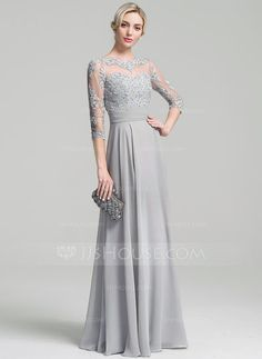 [US$ 159.99] A-Line/Princess Scoop Neck Floor-Length Chiffon Mother of the Bride Dress With Ruffle Appliques Lace Sequins
