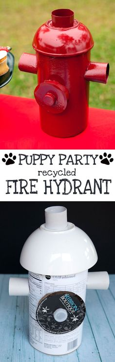 Tutorial to DIY a fire hydrant prop from recycled items for your puppy party!