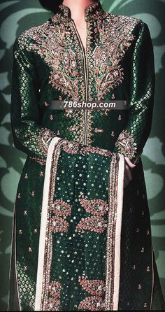 Dark Green Jamawar Zari Suit | 786Shop.com | Pakistani Indian Dresses.