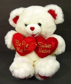 "18"" SWEETHEART White TEDDY BEAR Red Valentine Plush TB Trading 2001 Shlf #TBTrading"