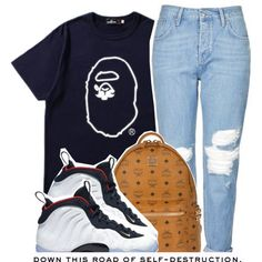 Untitled #1192 by princess-alexis18 on Polyvore featuring polyvore, fashion, style, Mr. Bathing Ape, Topshop, MCM, NIKE, clothing and BackWithBape