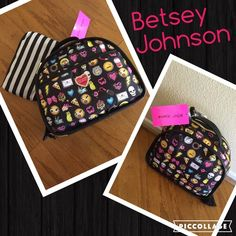 Betsey Johnson make up duo NWT  Betsey Johnson make up duo NWT. Colorful make up case with 2 secure areas inside for bottles. The Blk/white zip pouch is a great addition for your purse. 11x9 and Blk/white zip case measures 9x5.5  easy to clean material. Betsey Johnson Bags Cosmetic Bags & Cases