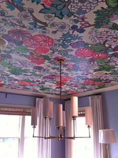 Chiang Mai Dragon by Schumacher wallpaper on dining room ceiling with Visual Comfort Ziyi Chandelier Ceiling Murals, Ceiling Lights, Wallpaper Ceiling Ideas, Purple Ceiling, Ceiling Treatments, Wall Decor, Room Decor, Fabric Wallpaper, Ceiling Design