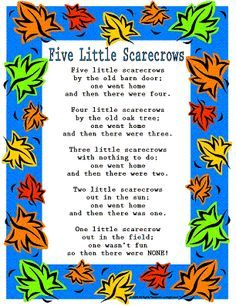 "Print off this cute rhyme ""Five Little Scarecrows."" www.loving2learn.com"