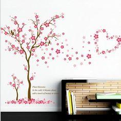 Sticker de Perete Din Gama DIY, Autocolant de perete cu imprimeu cu un copac roz si o inimioara, Model 3D, Decoratiune Ambientala Autocolanta Detasabila, Ce Poate fi Scoasa Sau Inlocuita