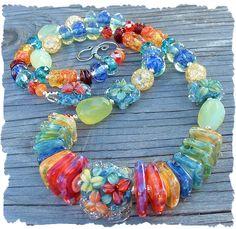 Tropical Oasis , Boro Lampwork Bead Necklace, Beaded Lampwork Necklace