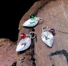 Birthstone Leaf Charm  Personalized Silver Add On by NadinArtGlass, $5.00