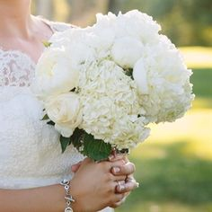 White Peony and Hydrangea Bouquet