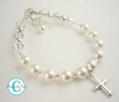 Cross Pearl Rosary Bracelet Crystal Sterling Silver Rosary Prayer, baptism, christening, first communion, flower girl, baby shower gift