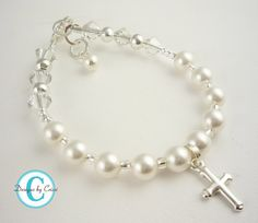 Cross Pearl Rosary Bracelet Crystal Sterling Silver Rosary Prayer, baptism, christening, first communion, flower girl, baby shower gift on Etsy, $18.79 AUD