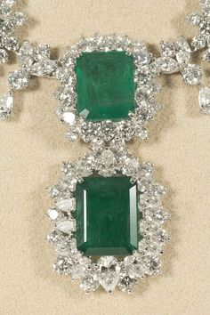 Incredible Emerald and Diamond Necklace | From a unique collection of vintage drop necklaces at https://www.1stdibs.com/jewelry/necklaces/drop-necklaces/