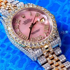 "gemville: ""Diamond, Yellow Gold and White Gold Ladies' Rolex Oyster Perpetual Datejust Wristwatch "" Cute Jewelry, Body Jewelry, Jewelry Accessories, Fashion Accessories, Fashion Jewelry, Bling Bling, Stylish Watches, Luxury Watches, Lila Outfits"