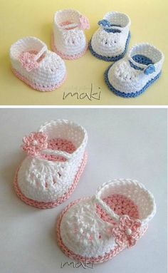 crochet baby shoes We have a Mary Jane Crochet Booties Video that is beginner friendly and shows you just how easy it is to make this adorable and popular pattern. Crochet Baby Mittens, Crochet Baby Boots, Crochet Baby Sandals, Booties Crochet, Baby Girl Crochet, Crochet Baby Clothes, Crochet Slippers, Baby Knitting, Knit Baby Shoes