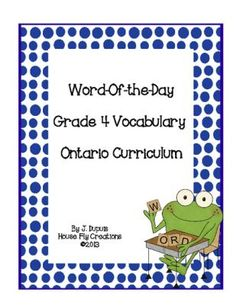 Word of the Day - Grade 4 Ontario Curriculum Vocabulary from House Fly Creations… Word Study, Word Work, Jewish School, Ontario Curriculum, Classroom Organization, Classroom Ideas, Balanced Literacy, Teacher Notebook, Word Of The Day