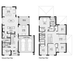 Fairmont 34 || Floor Plan - 315.00sqm, 12.20m width,18.30m depth || Clarendon Homes Simple Floor Plans, Modern House Floor Plans, Home Design Floor Plans, Dream House Plans, Modern House Design, 6 Bedroom House Plans, Family House Plans, Small House Plans, Double Storey House Plans