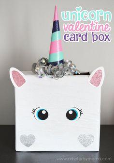 Unicorn Valentine Card Box at artsyfartsymama.com #plaidcrafts #modpodge #applebarrel