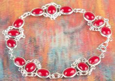Coral Jewellery – Solid Coral Gemstone Silver Bracelet BJB-118-CO – a unique…