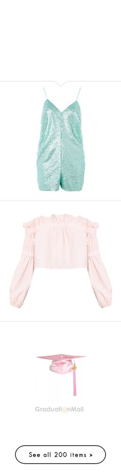 """"" by soniamoreira ❤ liked on Polyvore featuring jumpsuits, rompers, dresses, turquoise, green rompers, v neck romper, green romper, green sequin romper, playsuit romper and tops"