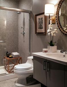 White penny tile, dark grout, Barbara Barry Refined Rib Sconce - Love the sconces for the Powder Room and that dark floor. Bad Inspiration, Bathroom Inspiration, Grey Bathrooms, Beautiful Bathrooms, Bathroom Gray, Small Bathroom, Basement Bathroom, Bathroom Vanity Stool, Bathroom Fixtures