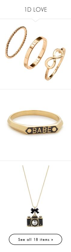 """""""1D LOVE"""" by maneesha1 on Polyvore featuring jewelry, rings, joias, metal jewelry, gold tone jewelry, h&m rings, metal rings, h&m jewelry, black and initial rings"""