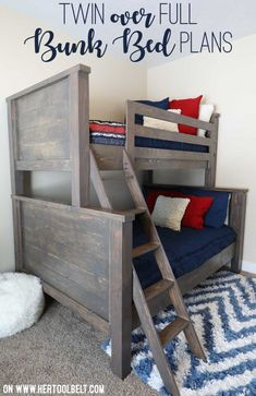 Save space in your kid's bedroom. Free plans to build a farmhouse style twin over full bunk bed. Farmhouse Style Twin over Full Bunk Bed Plans - Her Tool Belt diy for beginners plans tips tools