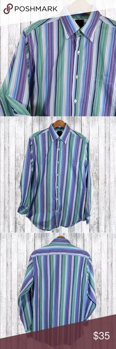 """TailorByrd Long Sleeve Button Up Dress Shirt Sz L Brand: TailorByrd Style:  Long sleeve button up dress shirt Material:  Cotton  Care: Machine Wash   This classic button down shirt is in excellent condition!   Shoulder to shoulder:  19 1/2""""  Chest:  24""""  Sleeve:  25 3/4""""  Hem:  23 1/2"""" Length:  34""""   I am adding new items for sale daily, so be sure to check out my other listings! Tailorbyrd Shirts Dress Shirts"""
