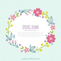 Hand drawn floral frame for springtime Free Vector Wreath Watercolor, Watercolor Flowers, Diy And Crafts, Crafts For Kids, Magic Day, Zeina, Floral Banners, Arte Floral, Unicorn Party