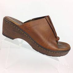 be1f6e5cc7b5 Born Womens Hanita Wedge Sandals Size 7 M Brown Leather Open Toe Heels