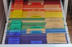 color coded filing system. I'd like to implement this system, but especially the desktop files with the general category, and then the color coded, subdivided master filing system for in the file cabinet.