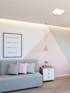 Want to repaint the wall of the house? The room without any paint or decoration on the wall will certainly make it seem messy and does not look aesthetic. Pink Bedroom Decor, Girl Bedroom Walls, Bedroom Wall Colors, Room Ideas Bedroom, Small Room Bedroom, Girl Room, Feature Wall Bedroom, Pastel Room, Bedroom Wall Designs