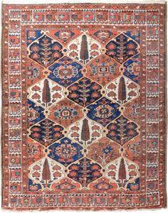 "NLR 539- Antique Persian Bakhtiari rug. 5'x 6'3"" #AntiquePersianBakhtiarirug #Gardenpanel"