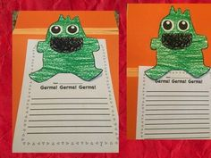 After reading and learning about germs and how they spread, you can use this germ craft and writing prompt to see what the children learned.
