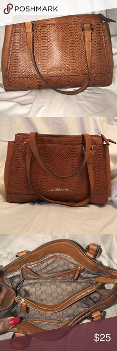 Liz Claiborne bag This is a beautiful camel color Liz Claiborne snake type looking purse with two short handles and a divider, and a  inside zipper in the middle like new. Liz Claiborne Bags Satchels